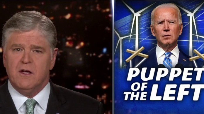 Hannity: 'Struggling' Biden destroys America until he takes over as president