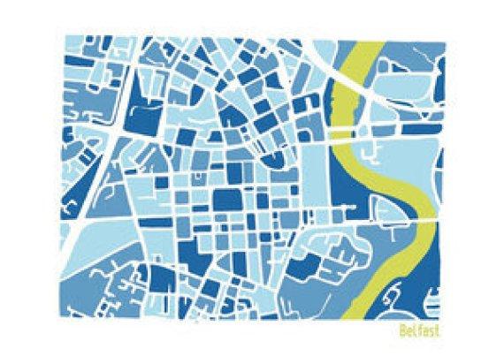 Belfast Illustrated Map by Richard E Dalton at The Irish Workshop