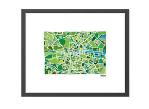 Dublin Illustrated Map - Framed