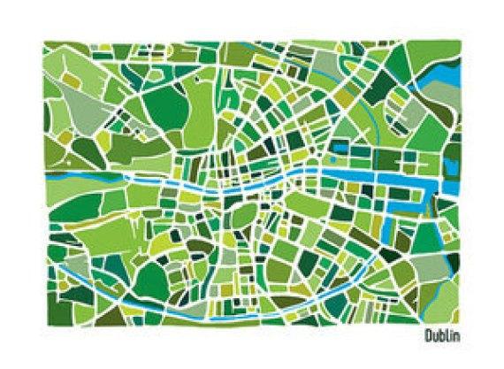 Dublin Illustrated Map by Richard E Dalton at The Irish Workshop copy