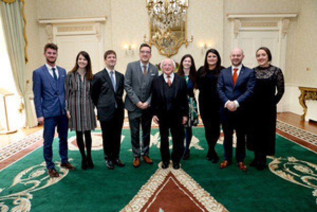 No Repro Fee …. 25-11-16 …. President receives representatives of stakeholders in promotion of DuoLingo …. Pic shows President Higgins with from left Daire O' Faogain , Niamh Ni Ghoill , Julian de Spain , Aodhan O Dea , Sine Nic an Aili , Orlaith Nic Ghearailt , Cuan O Seireadain and Edel Ni Bhraonain all from Conradh Na Gaeilge . Duolingo volunteers honoured by President of Ireland for opening 2.3 million new doors to the Irish language…….. The seven contributors who created and translated the popular Irish course on Duolingo was honoured by the President of Ireland, Michael D. Higgins, at a special reception held at Áras an Uachtaráin . Since the Irish course was launched just over 2 years ago, over 2.3 million people have used Duolingo to learn Irish. This means that Irish is now amongst the 10 most popular languages offered by Duolingo, with the majority of new learners located in the United States. Pic maxwell's - No Repro Fee 25-11-16