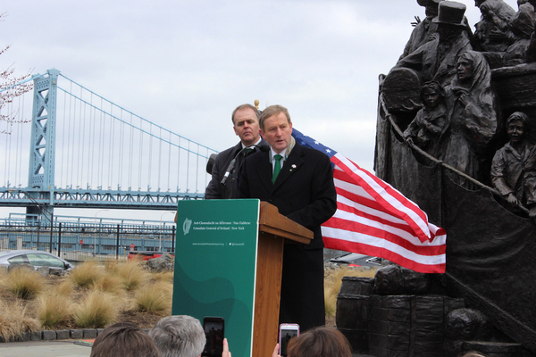 12/3/2017 Taoiseach's Visit To United States of America. Taoiseach and Fine Gael leader Enda Kenny speaking about an announcement that the Government had taken a decision to move forward with plans to hold a referendum to give the right to vote in presidential elections to Irish citizens abroad, including those in Northern Ireland during his visit to Philadelphia as part of his Saint Patrick's day tour of the USA. Photo Tom Keenan/Merrion Street