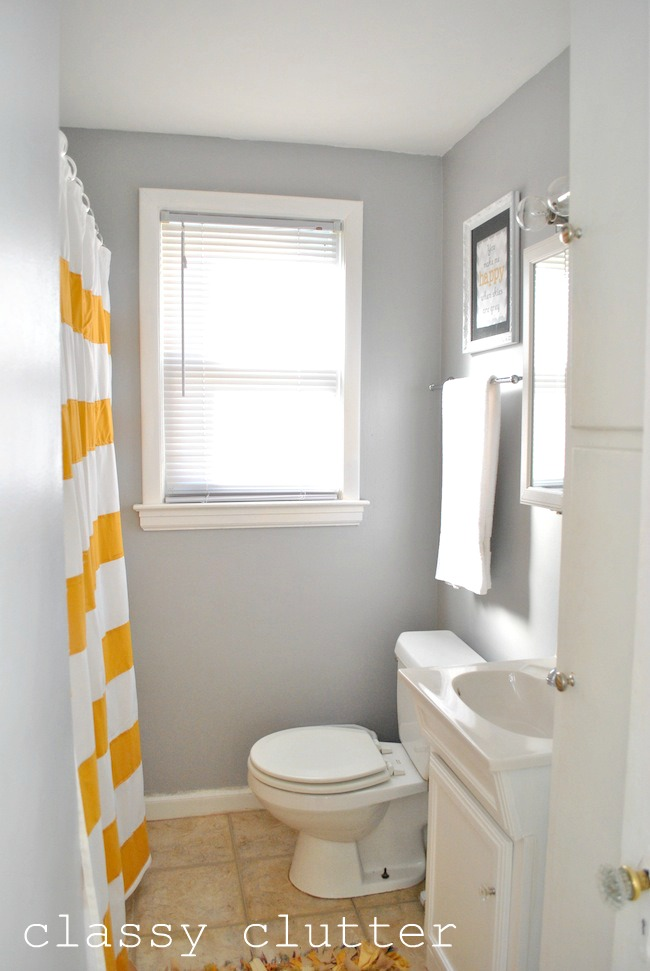 clean and simple yellow bathroom redo - classy clutter