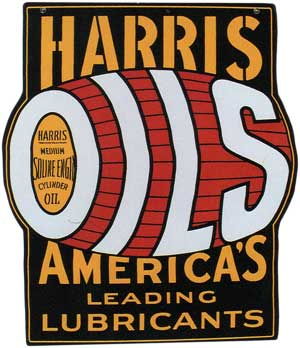 Harris Oils flanged sign from 1920s
