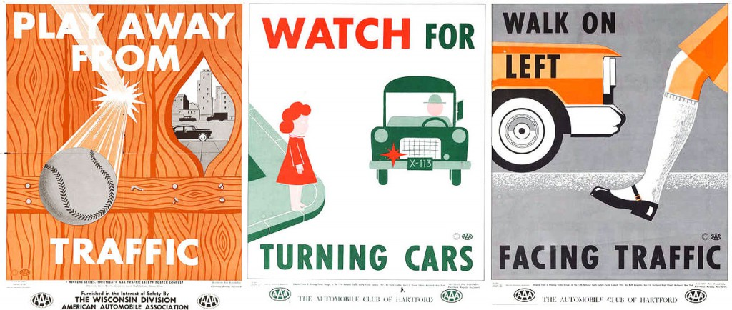 Street-safety posters produced by AAA in the late 1950s focused on changing behavior of children, rather than drivers.