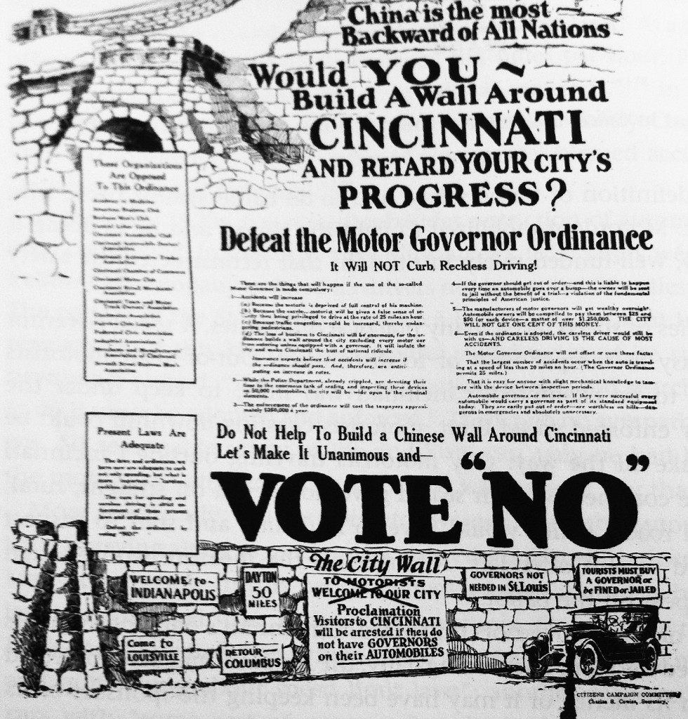 One auto-industry response to the Cincinnati referendum of 1923 was to conflate speed governors with negative stereotypes about China. Via the Cincinnati Post.