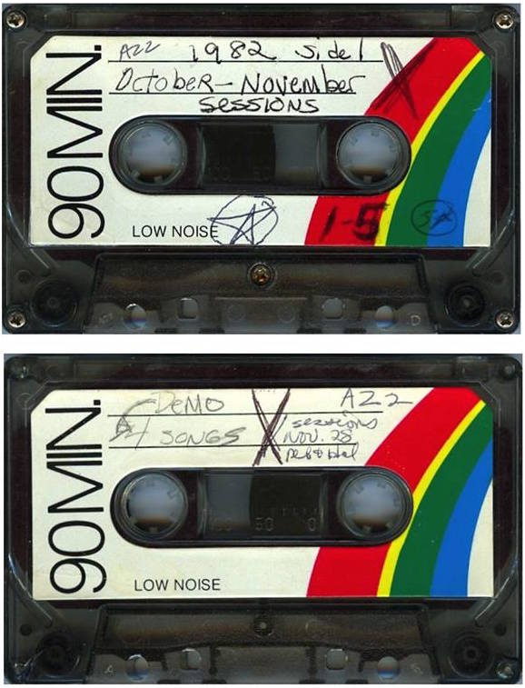 Two sides of one of the 54 tapes McGee received from Jaffe, a 1982 recordings they made as Viscera with McGee on un-amplified vocal and Debbie on Casio VL-Tone played through a Marlboro brand amplifier. (Listen at HalTapes.com)