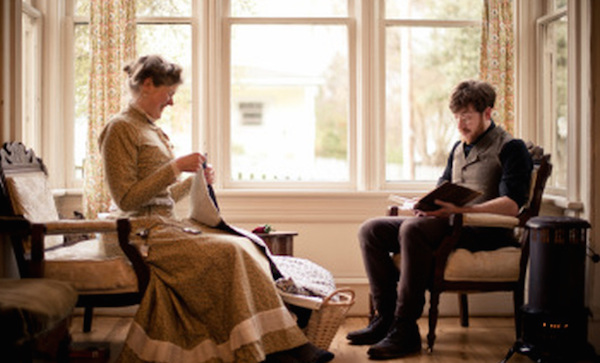Gabriel reads out loud to Sarah while she sews in the evening light from their window. (Photo courtesy Estar Hyo-Gyung Choi, Mary Studio, via ThisVictorianLife.com)