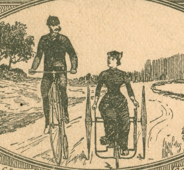 A detail of an advertisement for Columbia Bicycles and Tricycles from the Chrismans' collection. (From ThisVictorianLife.com)