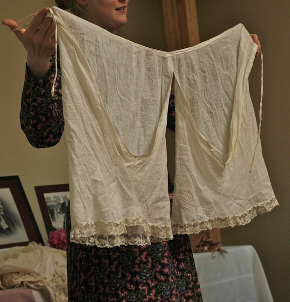 """Sarah explains, """"My favorite pantelets are shown here: dating from the 1870s, they are made of cotton lawn (a filmy, light-weight material that feels a bit like wearing a cloud), and decorated with hand-made lace."""" (From This VictorianLife.com)"""