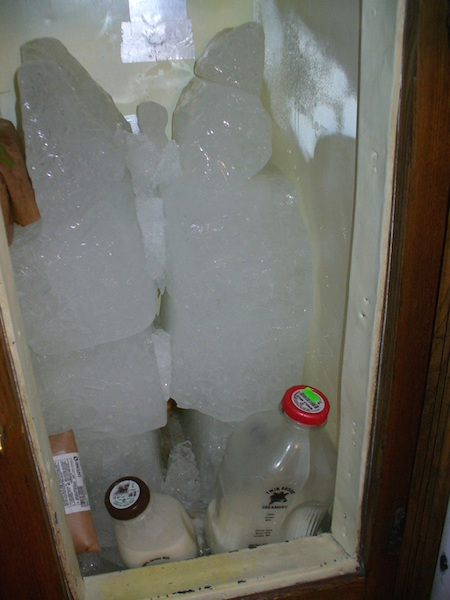 "The Chrismans don't have access to the ""hard ice"" that was delivered to Victorian housewives. Instead, Gabriel picks up bags of modern ""soft ice"" from the grocery store in his car, and these melt much faster in the icebox than hard ice would. (From ThisVictorianLife.com)"