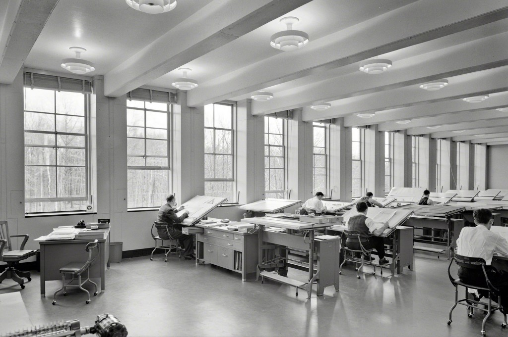 A drafting studio at Bell Labs with views into the trees, 1942. Via Shorpy.