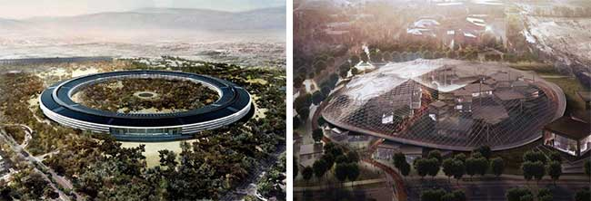 Renderings of Apple's new headquarters, left, and Google's campus, right, reflect the lasting appeal of low-density, inward-facing suburban offices.