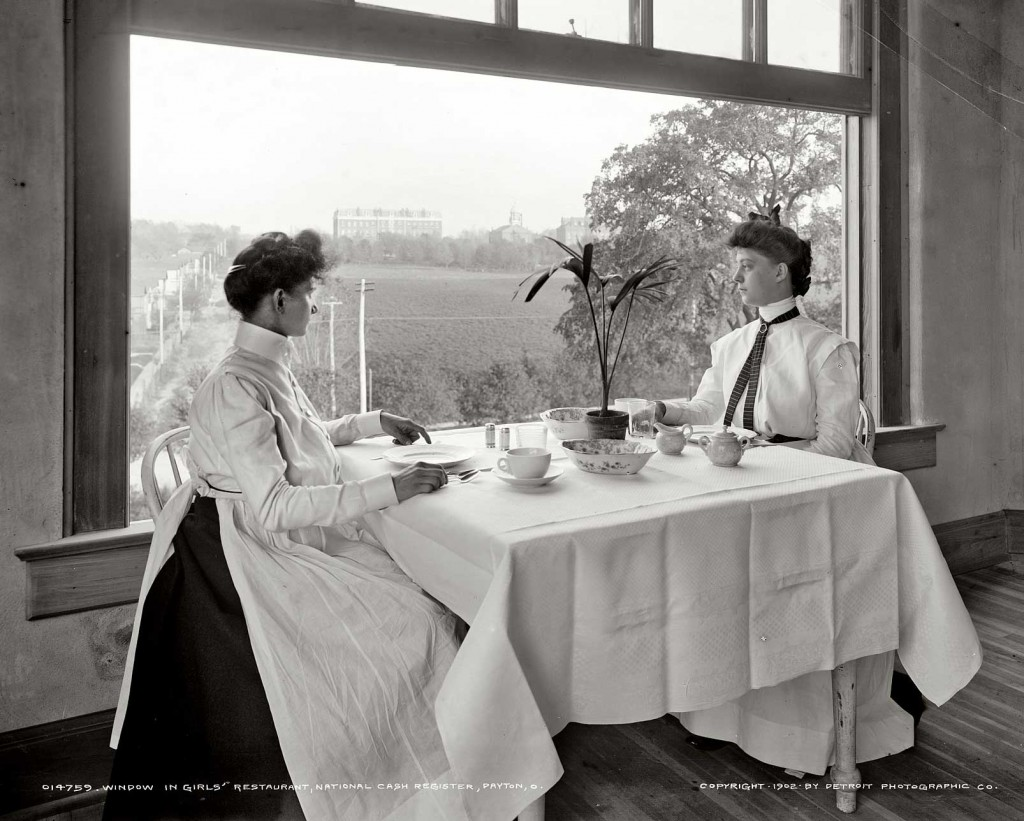 "In the early 20th century, employee amenities and access to green space helped maintain loyalty and prevent unionizing, as seen in the women's lunchroom at the National Cash Register Company in 1902. Via <a href=""http://www.shorpy.com/node/7375"">Shorpy</a>."