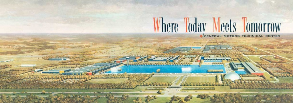 Top: The exterior of IBM's Manufacturing and Administrative Center in Rochester, Minnesota, circa 1950s. Photo by Balthazar Korab, via the Library of Congress. Above: This 1956 brochure advertising General Motors' new Technical Center in Warren, Michigan, emphasized that suburbs were the future.