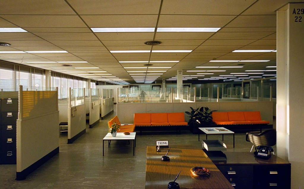 Executives felt employees could think better in suburban environments like IBM's Manufacturing and Administrative Center in Rochester, Minnesota, seen here in the 1956. Photo by Balthazar Korab, via the Library of Congress.