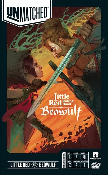Unmatched: Little Red Riding Hood vs. Beowulf, Restoration Games / Mondo Games, 2020 — front cover (image provided by the publisher)