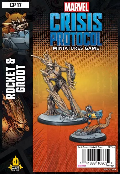 Marvel: Crisis Protocol – Rocket & Groot, Atomic Mass Games, 2020 — front cover (image provided by the publisher)