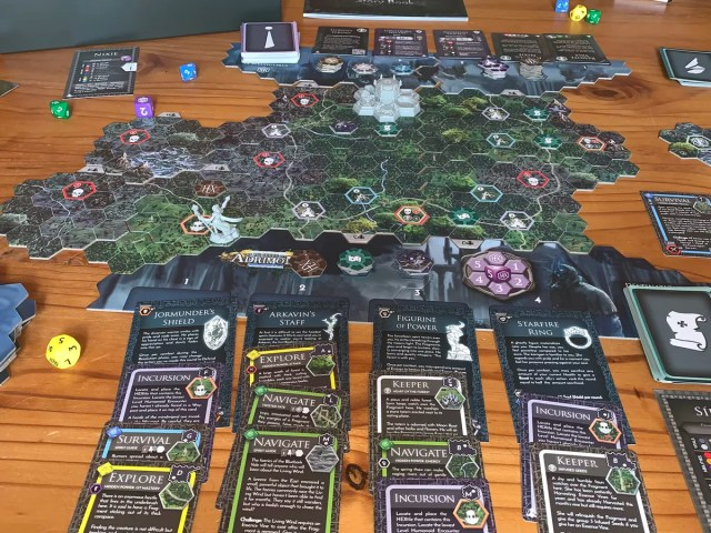 In play shot of Forests of Adrimon showing most of the components.