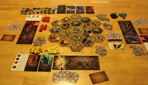 An overview of the set up for a three-player game, taken just before the mid point..