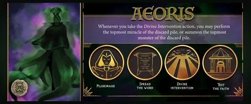 The player mat for Aeoris, the god of time and resurrection.