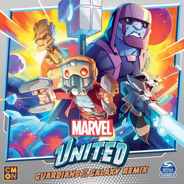 Marvel United: Guardians of the Galaxy Remix, CMON Limited / Spin Master Ltd., 2021 — front cover (image provided by the publisher)