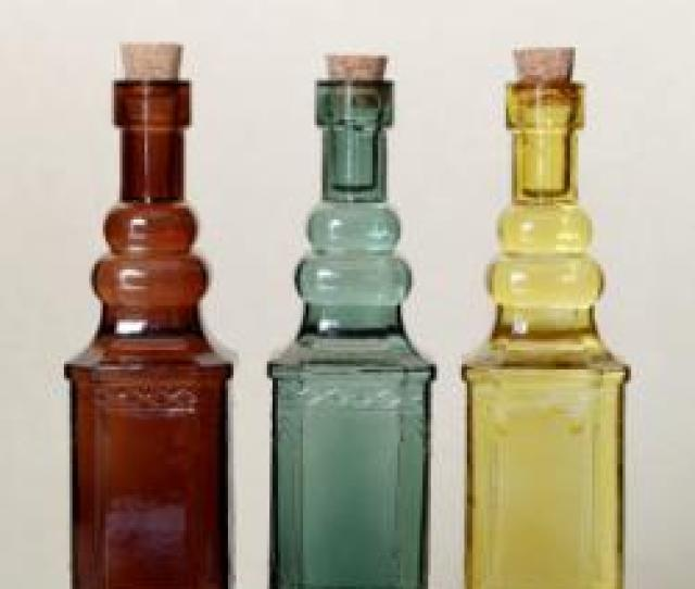Three Colorful Antique Bottles