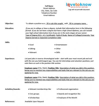 chronological resume template free resume template sample fill