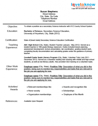 example of teaching resume sample resume curriculum vitae sle