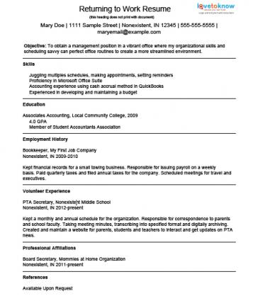 Sahm Resume Examples. resume samples example resumes for stay at ...