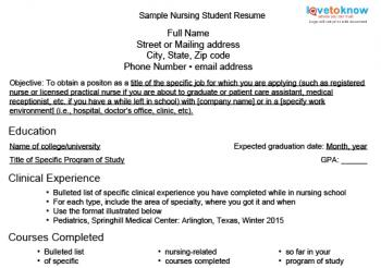 download a sample nursing student resume