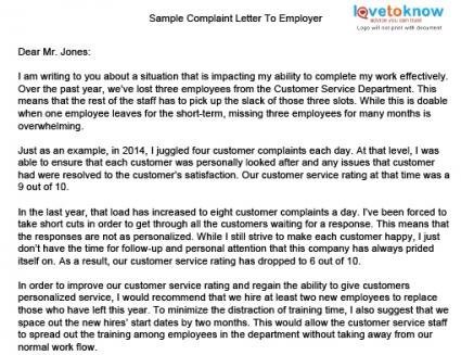 Doc529684 Product Complaint Letter Sample Free Complaint – Sample Employee Complaint Letter