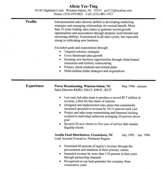 Sales Experience Resume Sample | Resume Format Download Pdf