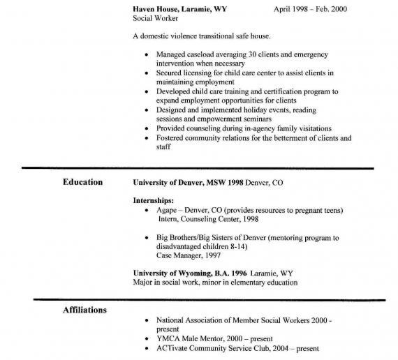 Professional Social Work Resume Examples. Social Work Resume