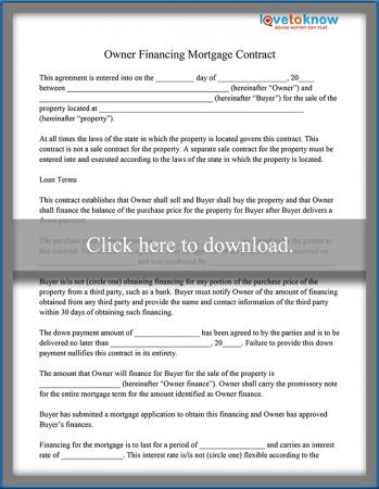 Owner Financing Mortgage Contract Sample Lovetoknow