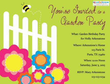 Garden Party Invitations LoveToKnow