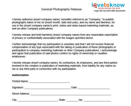 Work Release Form Template to work release form template return – General Liability Release Form