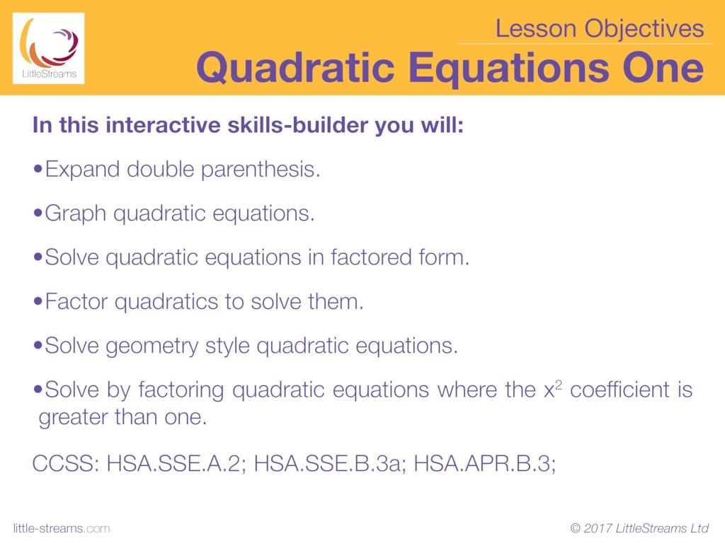 Expanding Quadratic Equations