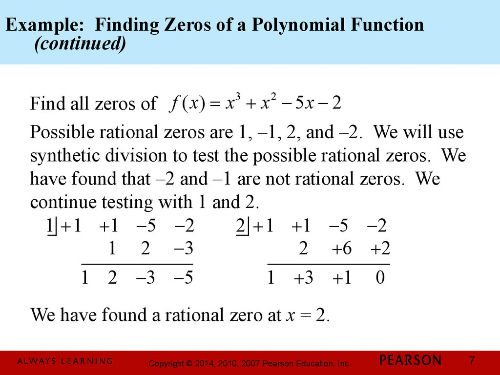 Chapter 3 Polynomial And Rational Functions 3 4 Zeros Of