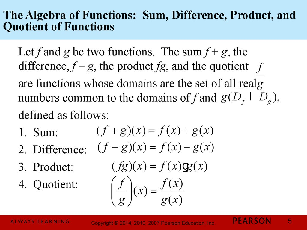 Functions And Graphs Chapter 2 Combinations Of Functions Composite Functions