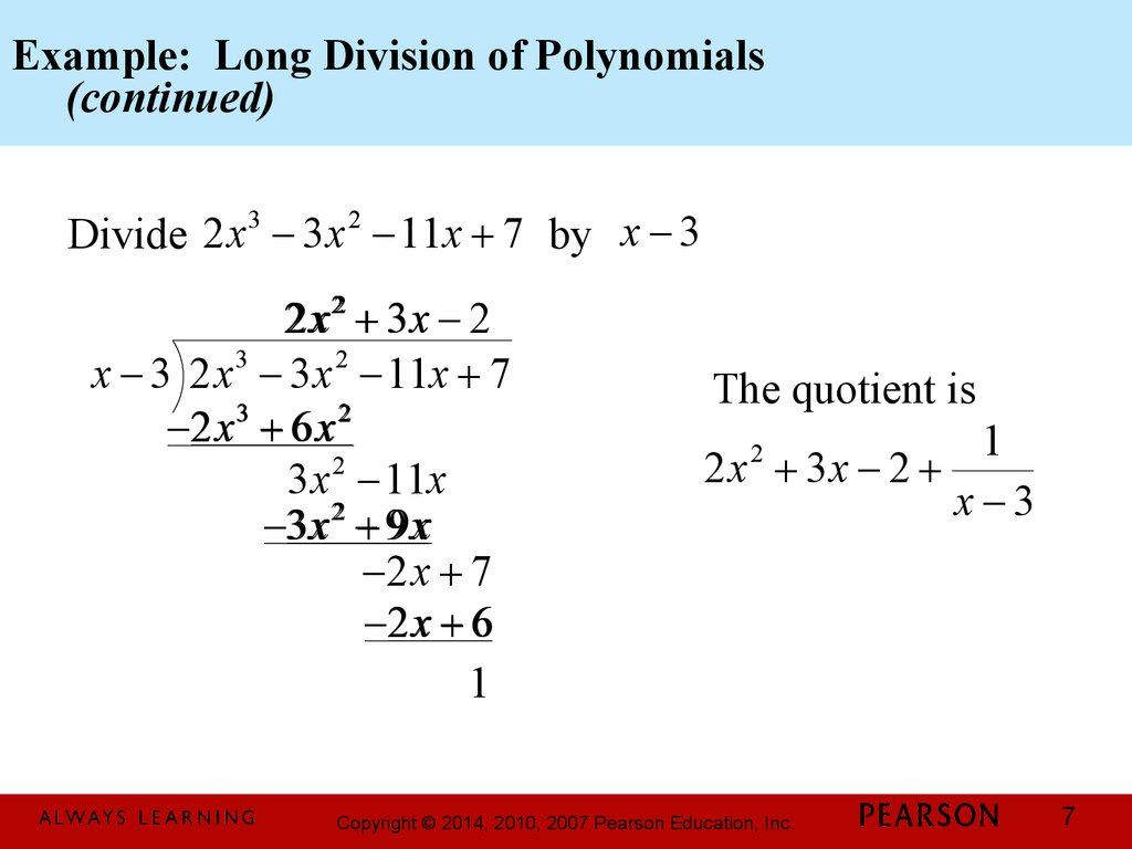Chapter 1 Polynomial And Rational Functions 3 3 Dividing Polynomials Remainder And Factor