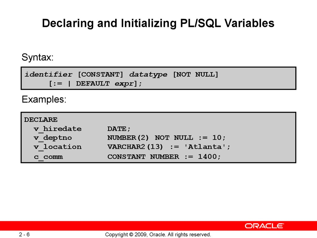 Declaring Pl Sql Variables Lecture 2