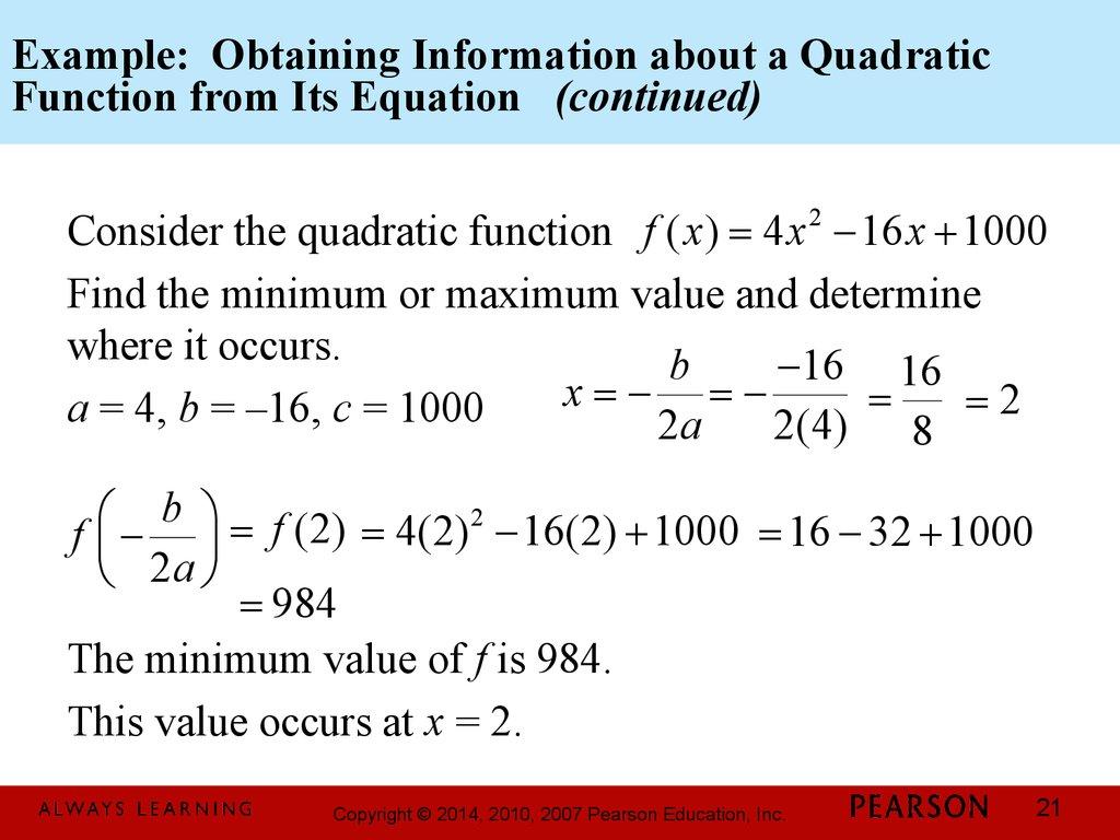 Quadratic Function Equation Example