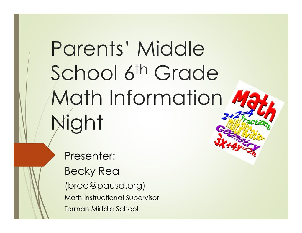 Parents Middle School 6th Grade Math Information Night