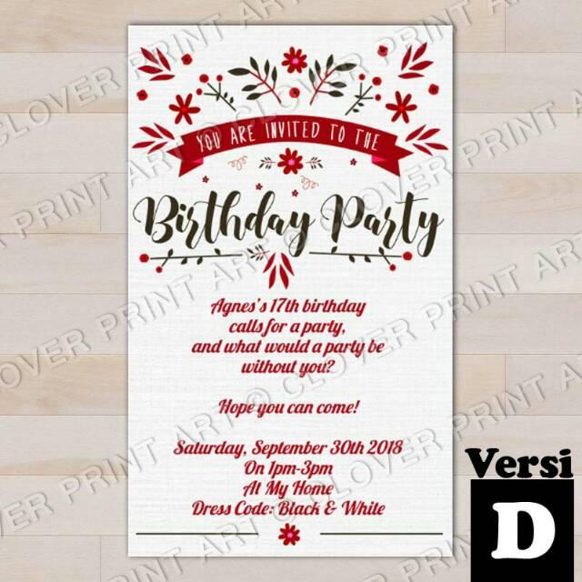 Isi 10 Kartu Undangan Ulang Tahun Birthday Invitation Remaja Sweet