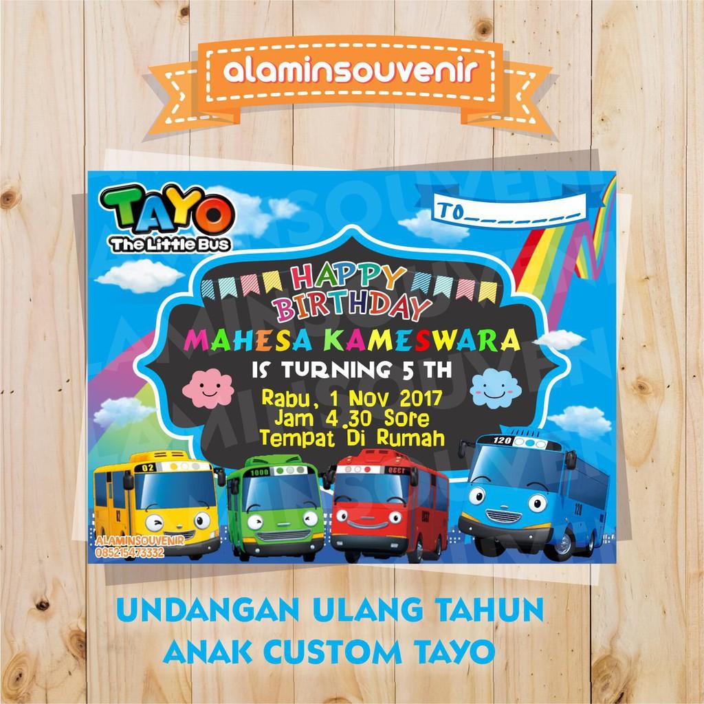 Undangan Ulang Tahun Animasi Tayo Shopee Indonesia