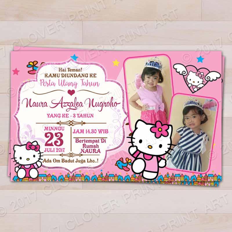 Isi 16 Kartu Undangan Ulang Tahun Birthday Invitation Hello Kitty