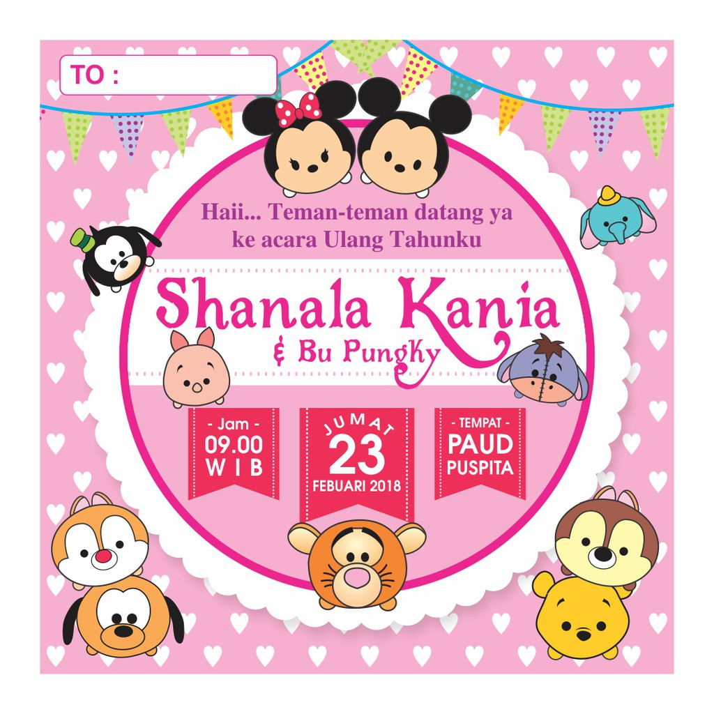Paket Undangan Ulang Tahun Anak Karakter Hello Kitty Backdrop