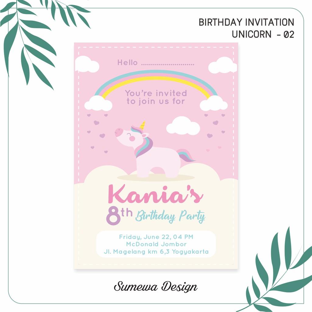 Undangan Ulang Tahun Birthday Invitation Unicorn 02 Shopee