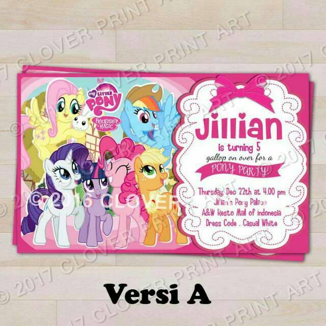 Isi 10 Kartu Undangan Ulang Tahun Birthday Invitation Little Pony
